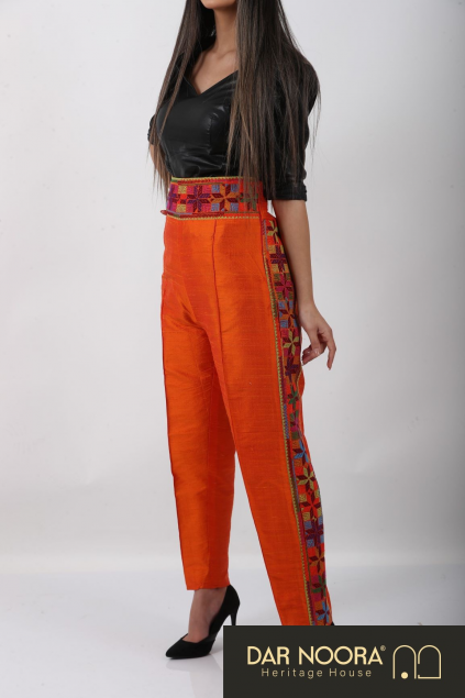 Orange Silk Trouser